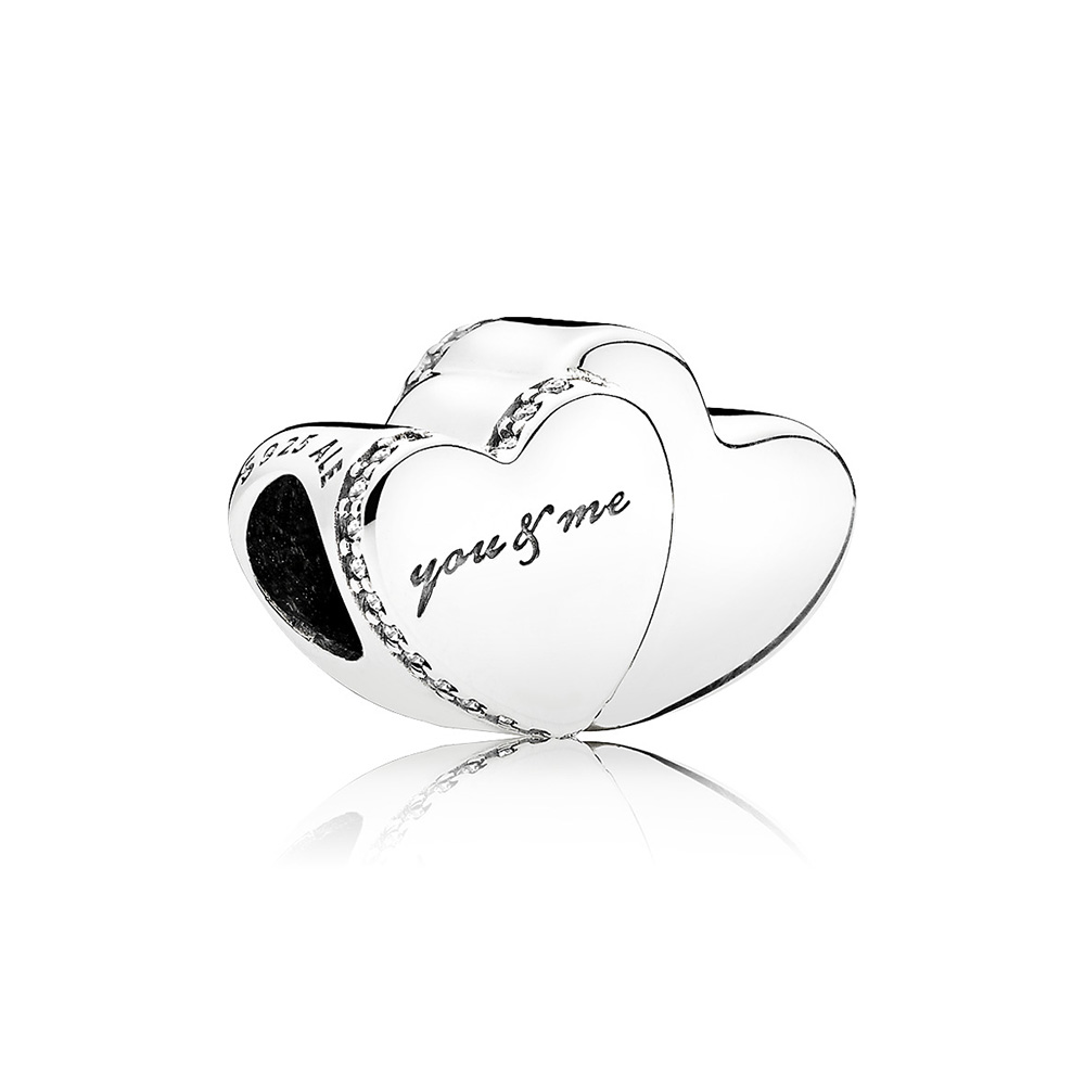 Two Hearts Charm, Clear CZ