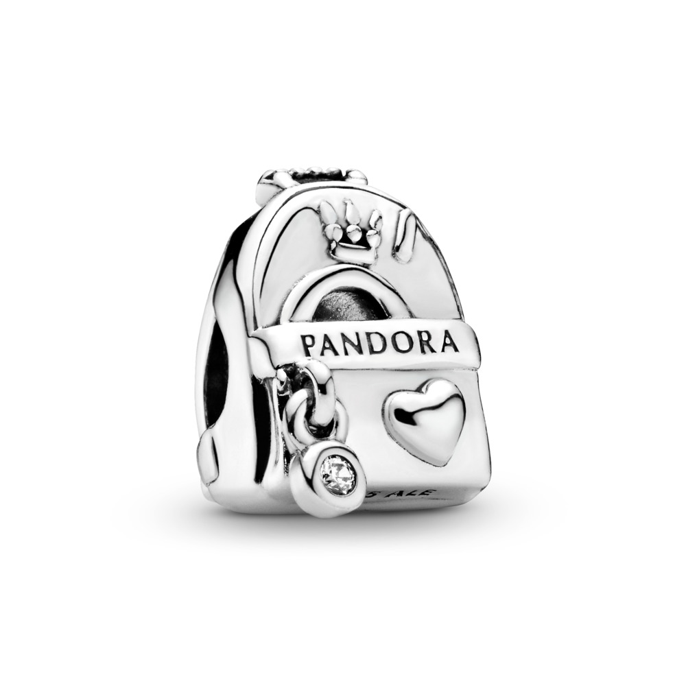 Adventure Backpack Charm, Sterling silver, Cubic Zirconia - PANDORA - #797859CZ