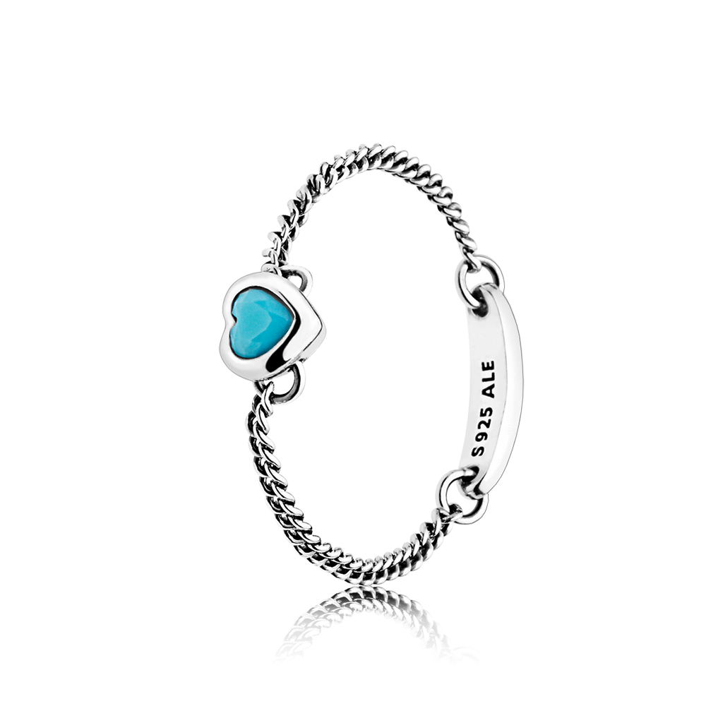 Spirited Heart Ring, Cyan Blue Crystal