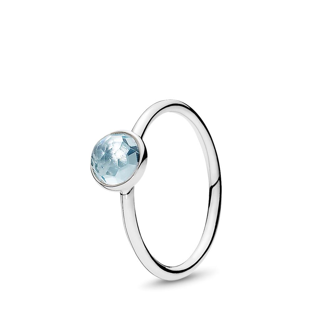 March Droplet, Aqua Blue Crystal, Sterling silver, Blue, Crystal - PANDORA - #191012NAB