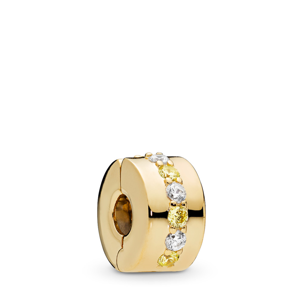 Shining Path Clip, PANDORA Shine™ & Yellow & Clear CZ, 18ct gold-plated sterling silver, Yellow, Cubic Zirconia - PANDORA - #767051CSY