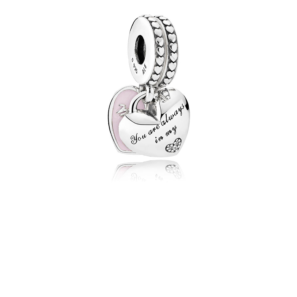 Mother & Daughter Hearts, Soft Pink Enamel & Clear CZ