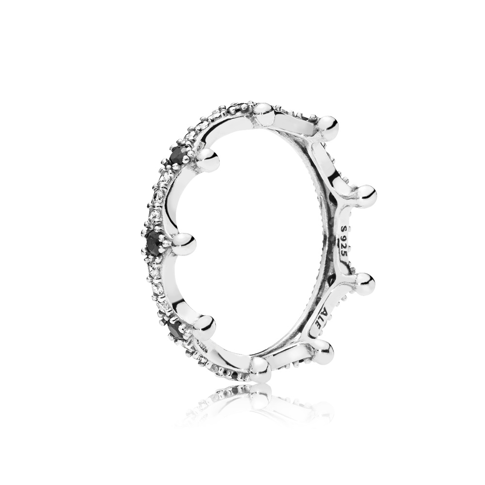 Enchanted Crown Ring, Clear CZ & Black Crystals