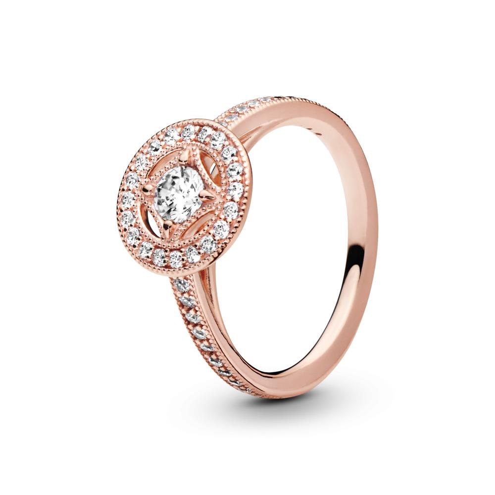 Vintage Allure Ring, PANDORA Rose™ & Clear CZ, PANDORA Rose, Cubic Zirconia - PANDORA - #181006CZ