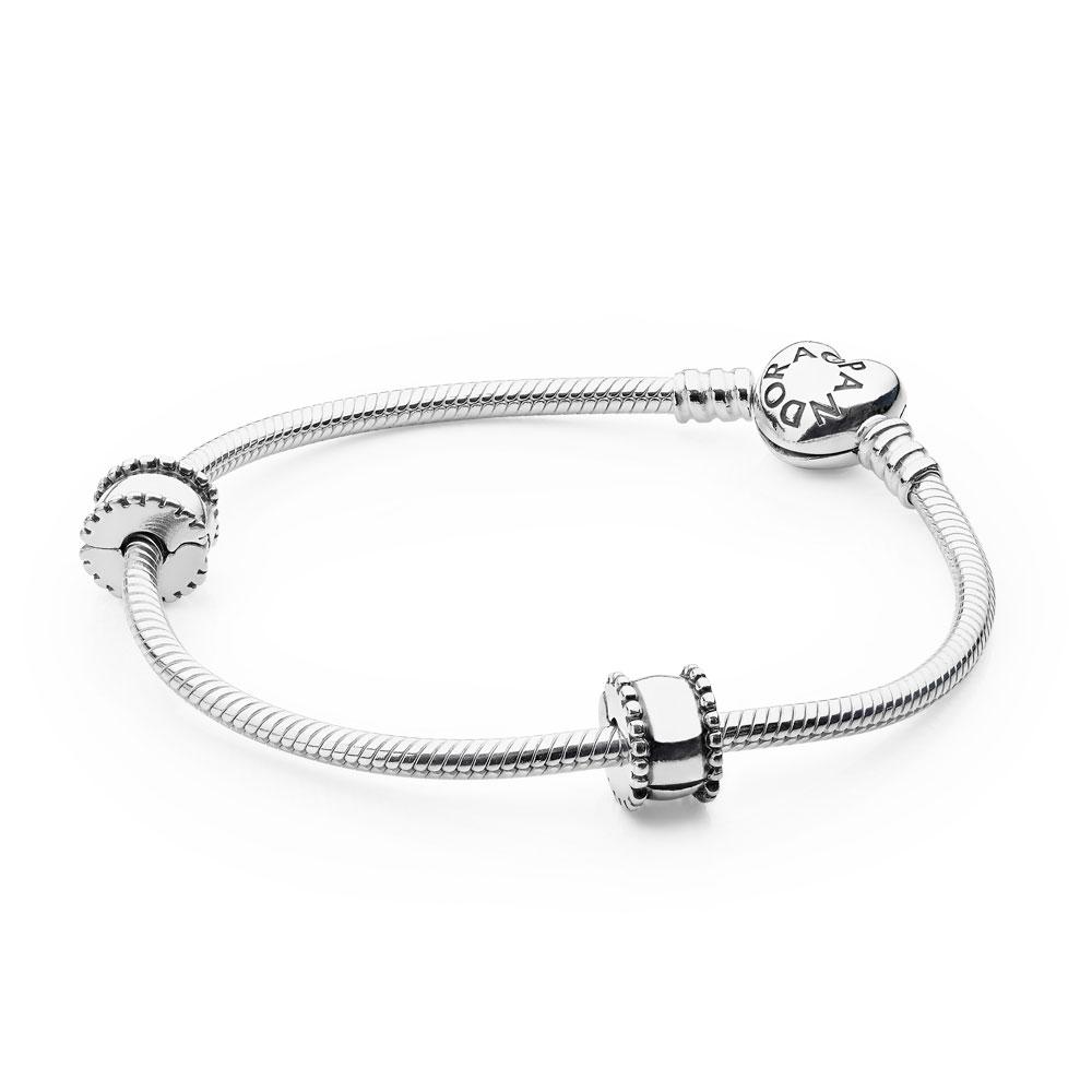 Bracelet emblématique PANDORA à fermoir en cœur, Sterling Silver - PANDORA - #USB7952