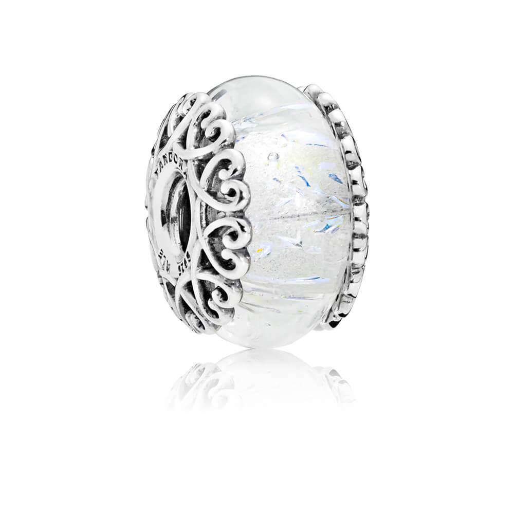 Charm en verre blanc iridescent