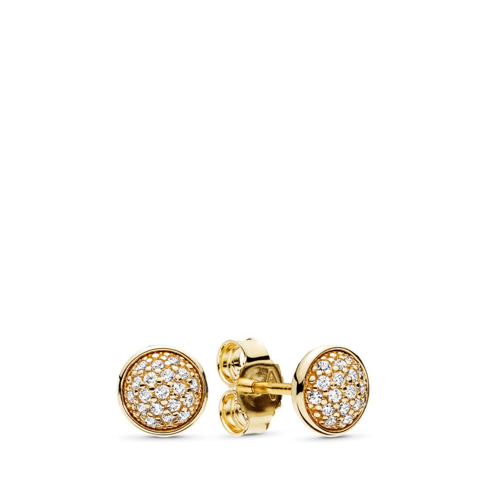 Dazzling Droplets, 14K Gold & Clear CZ, Yellow Gold 14 k, Cubic Zirconia - PANDORA - #256212CZ