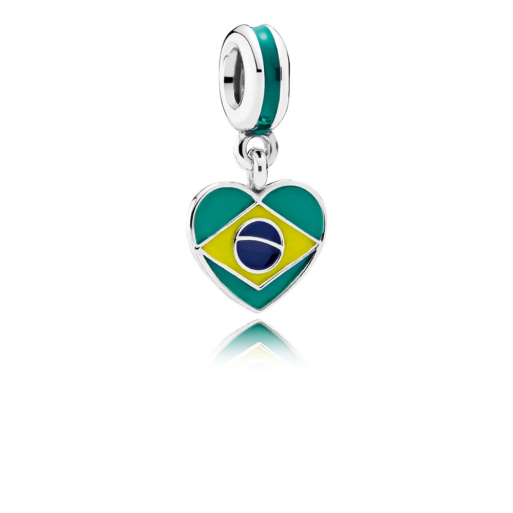 Brazil Heart Flag, Mixed Enamels
