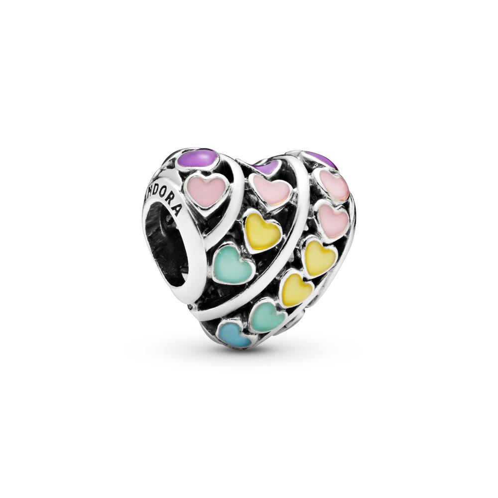 Charm Coeurs multicolores, émaux mixtes, Argent sterling, émail, Bleu, Aucune pierre - PANDORA - #797019ENMX