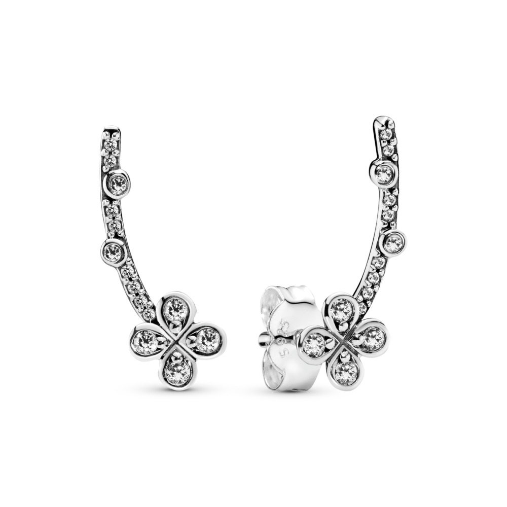 Draped Four-Petal Flowers Earrings, Sterling silver, Cubic Zirconia - PANDORA - #297936CZ