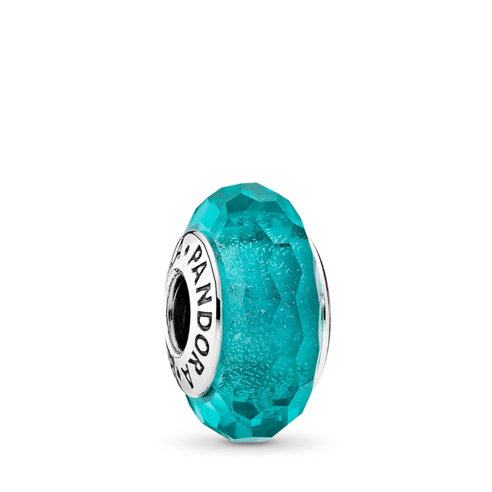 Teal Shimmer, Sterling silver, Glass, Turquoise - PANDORA - #791655