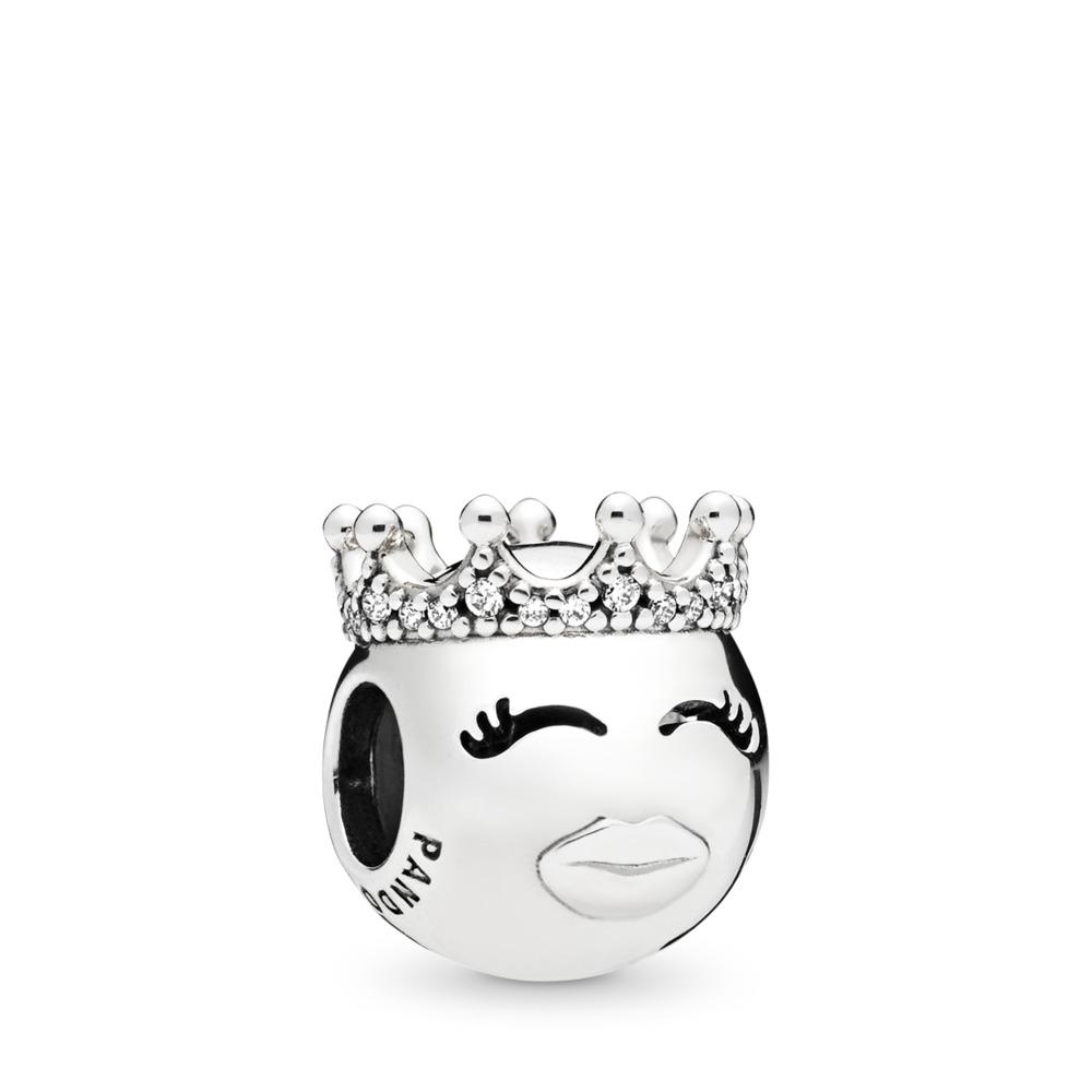 Princess Charm, Sterling silver, Cubic Zirconia - PANDORA - #797143CZ