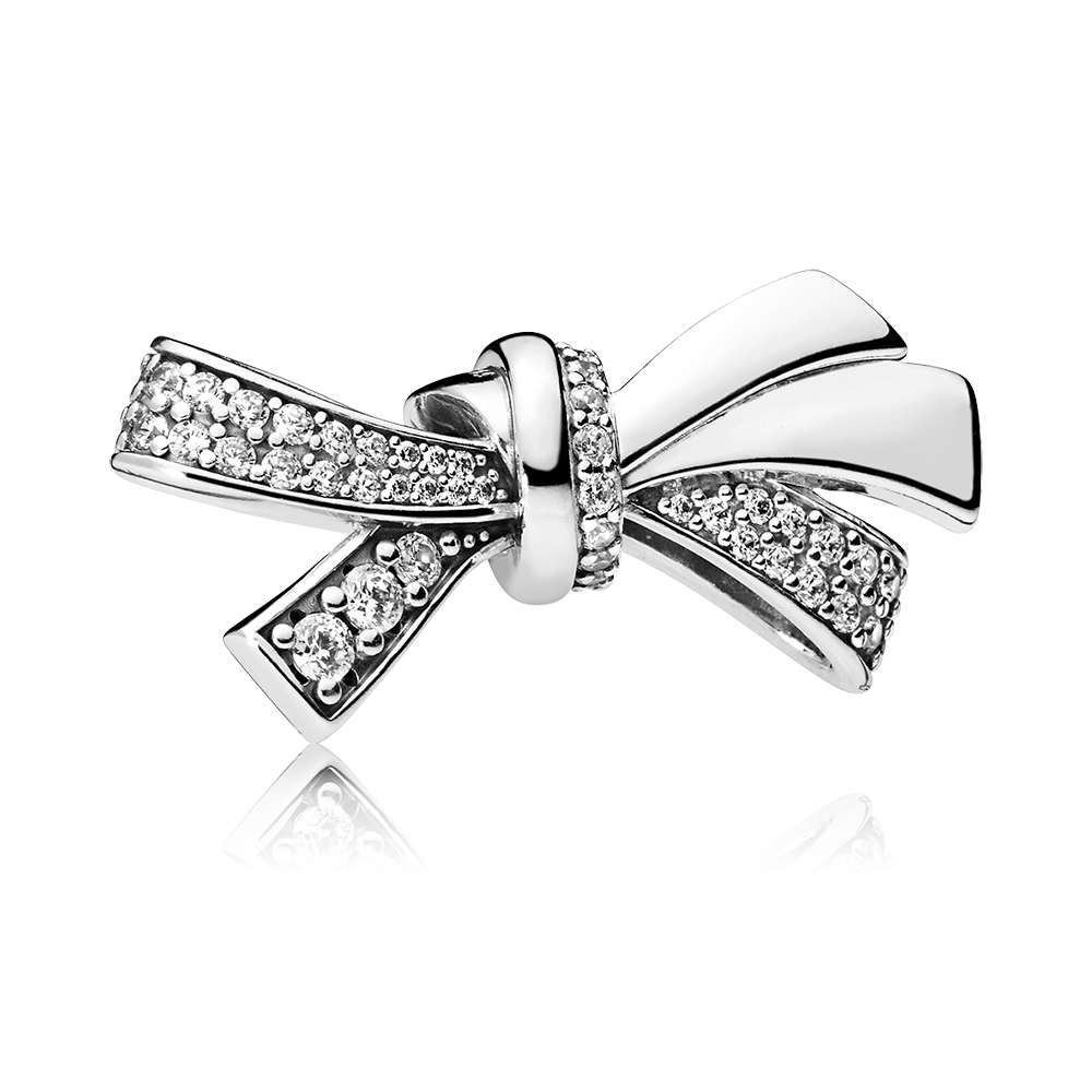 Brilliant Bow Charm, Clear CZ