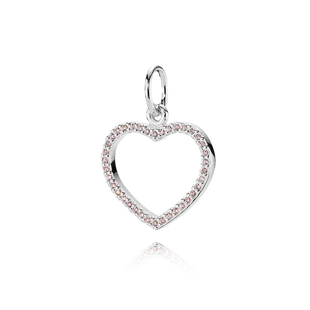 Be My Valentine Heart Pendant, Pink CZ, Sterling silver, Pink, Cubic Zirconia - PANDORA - #390331PCZ