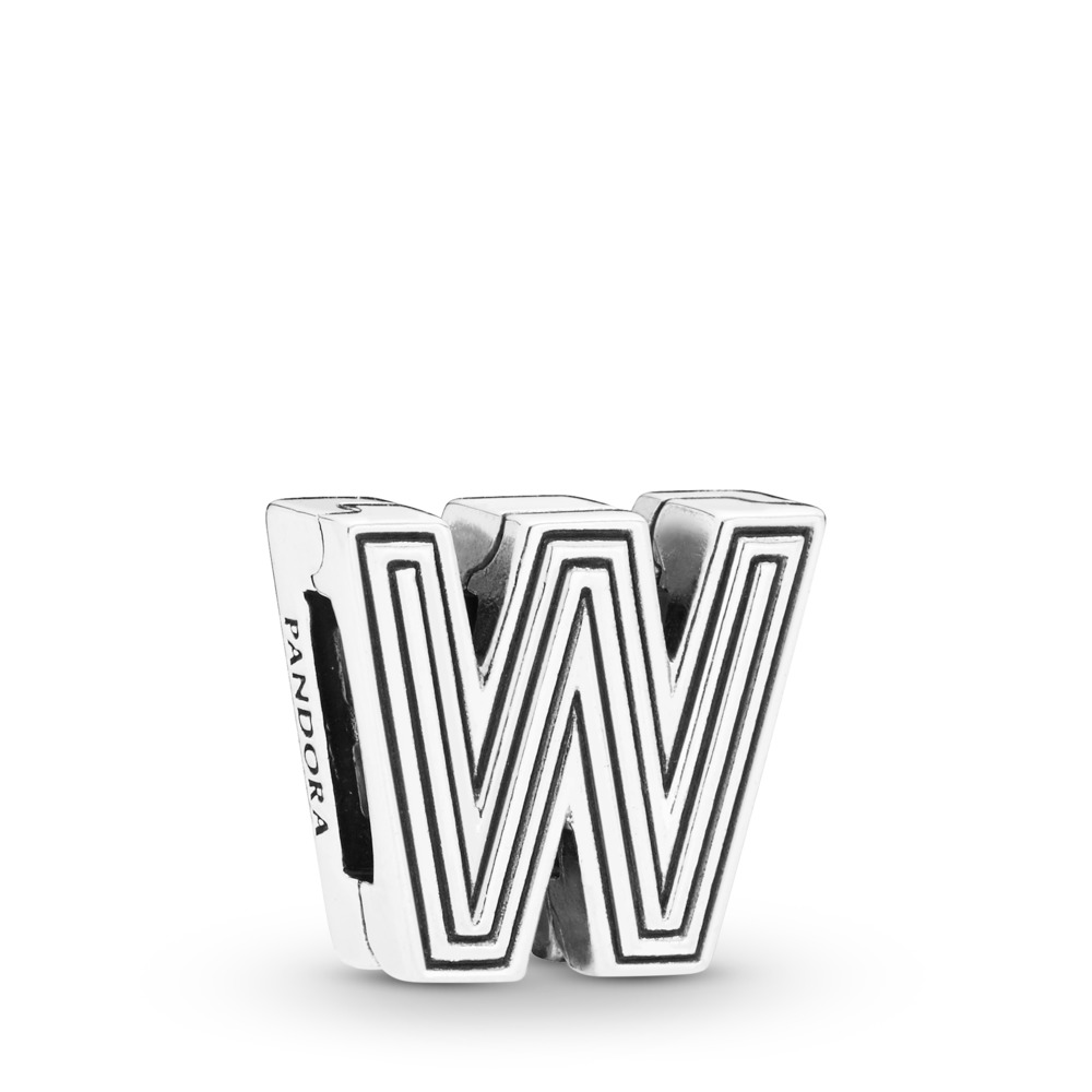 Charm Lettre W Pandora Reflexions, Argent sterling, Silicone, Aucune couleur, Aucune pierre - PANDORA - #798219