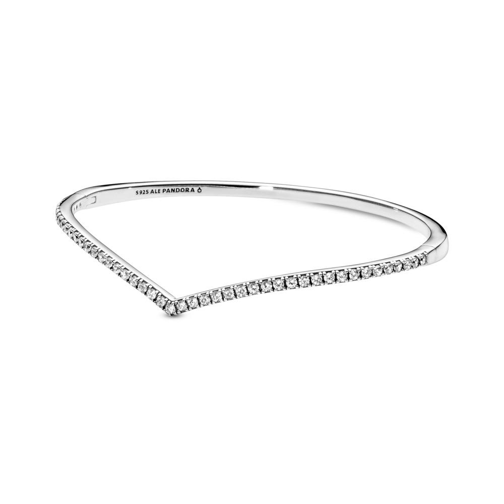 Bracelet rigide Souhait chatoyant, Argent sterling, Aucun autre matériel, Aucune couleur, Zircon cubique - PANDORA - #597837CZ