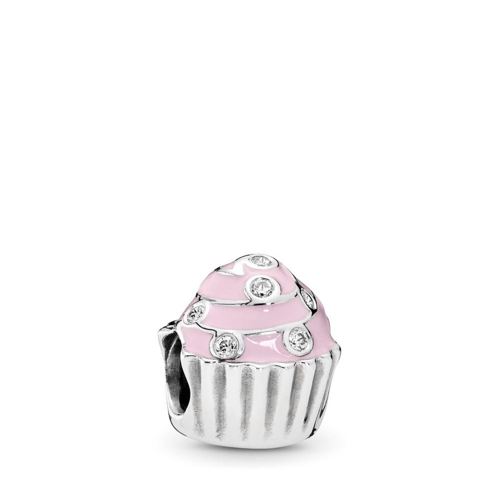 Sweet Cupcake, Light Pink Enamel & Clear CZ, Sterling silver, Enamel, Pink, Cubic Zirconia - PANDORA - #791891EN68