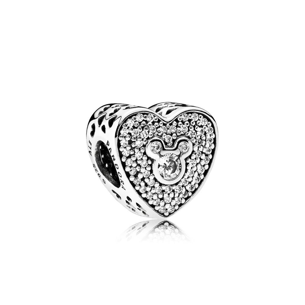 Disney, Mickey & Minnie Sparkling Heart, Sterling silver, Cubic Zirconia - PANDORA - #792049CZ