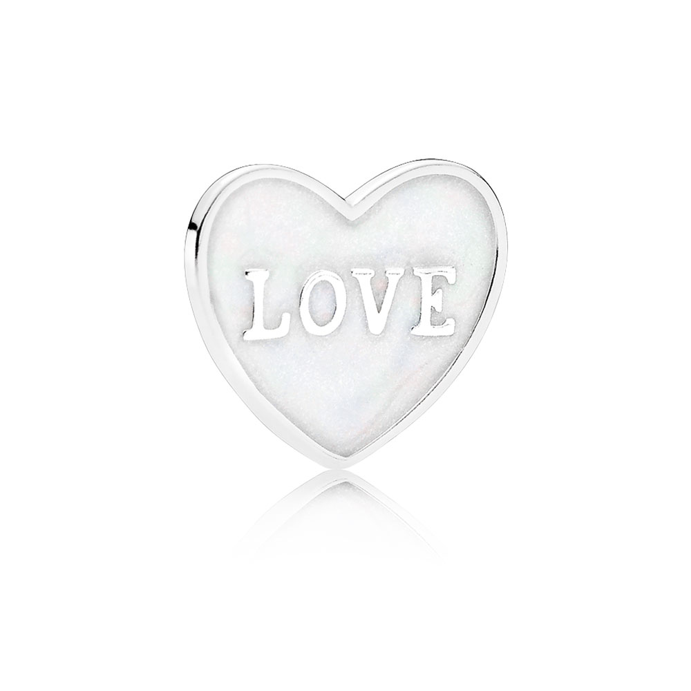 Love Heart Plate, Small, Silver Enamel