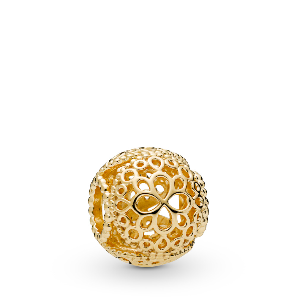 Openwork Flower Charm, 18ct gold-plated sterling silver - PANDORA - #767853