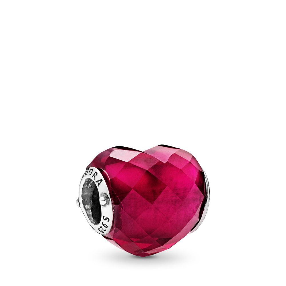 Shape of Love Charm, Fuchsia Rose Crystal, Sterling silver, Pink, Crystal - PANDORA - #796563NFR