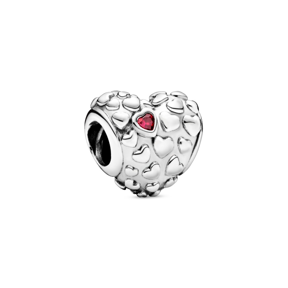 Mom In A Million Charm, Sterling silver, Red, Cubic Zirconia - PANDORA - #797781CZR