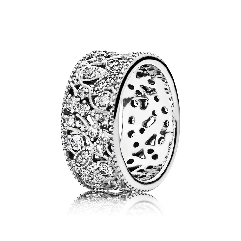 Shimmering Leaves Ring, Clear CZ, Sterling silver, Cubic Zirconia - PANDORA - #190965CZ