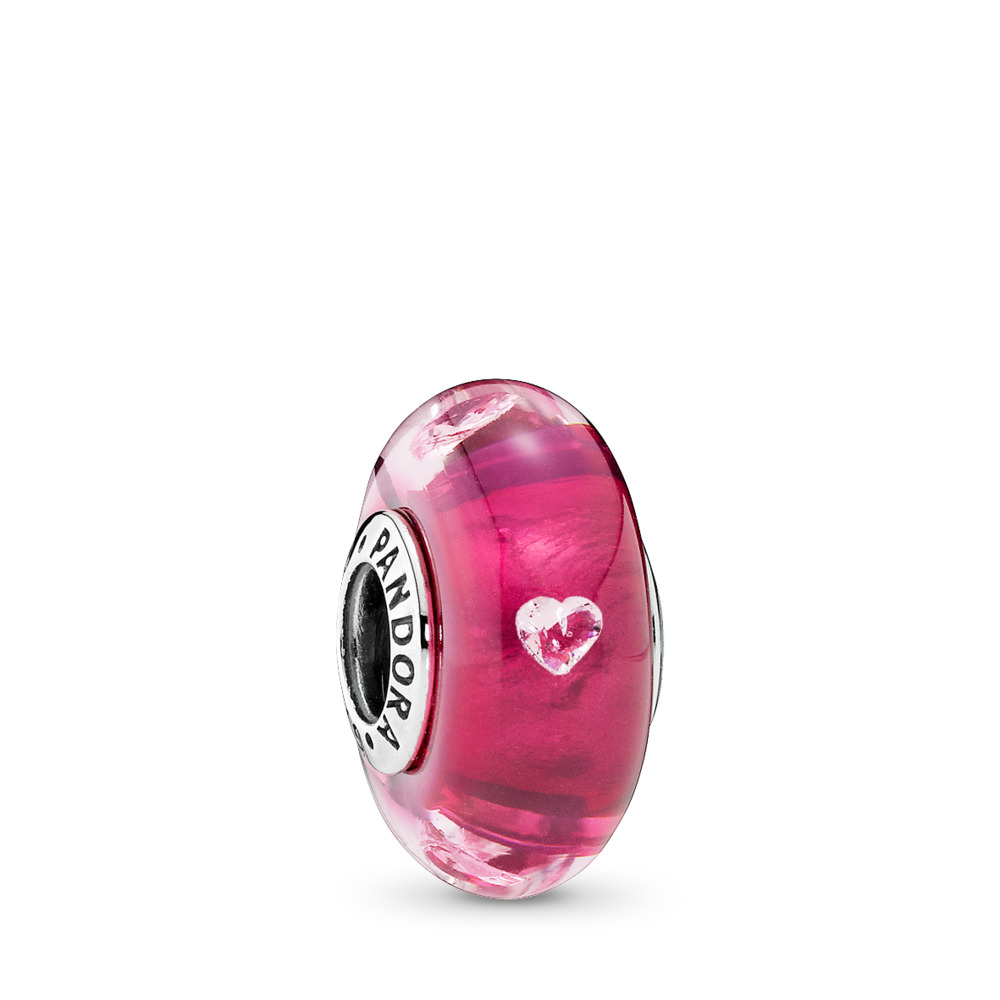 Cerise Heart Glass, Clear CZ, Sterling silver, Glass, Pink, Cubic Zirconia - PANDORA - #791664PCZ