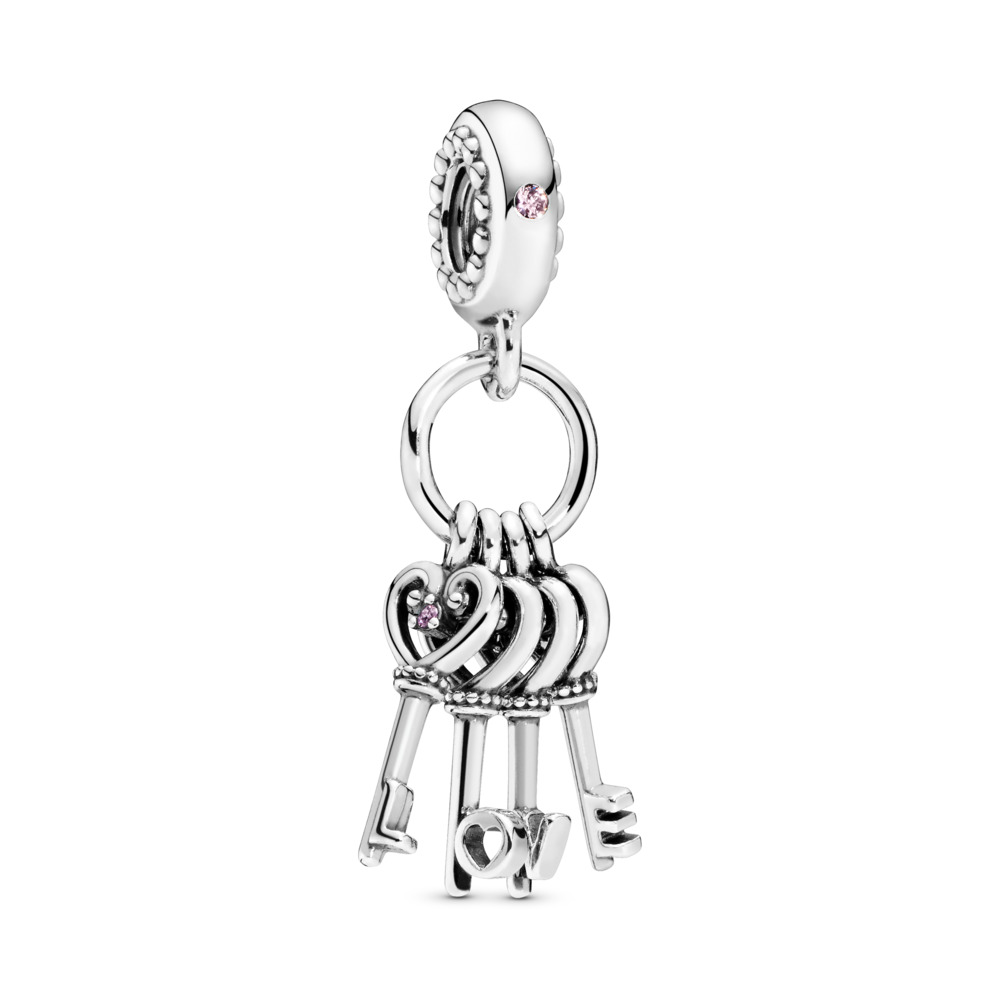 Keys of Love Dangle Charm, Red CZ & Multi-coloured Crystals, Sterling silver, Blue, Mixed stones - PANDORA - #797654NPMMX