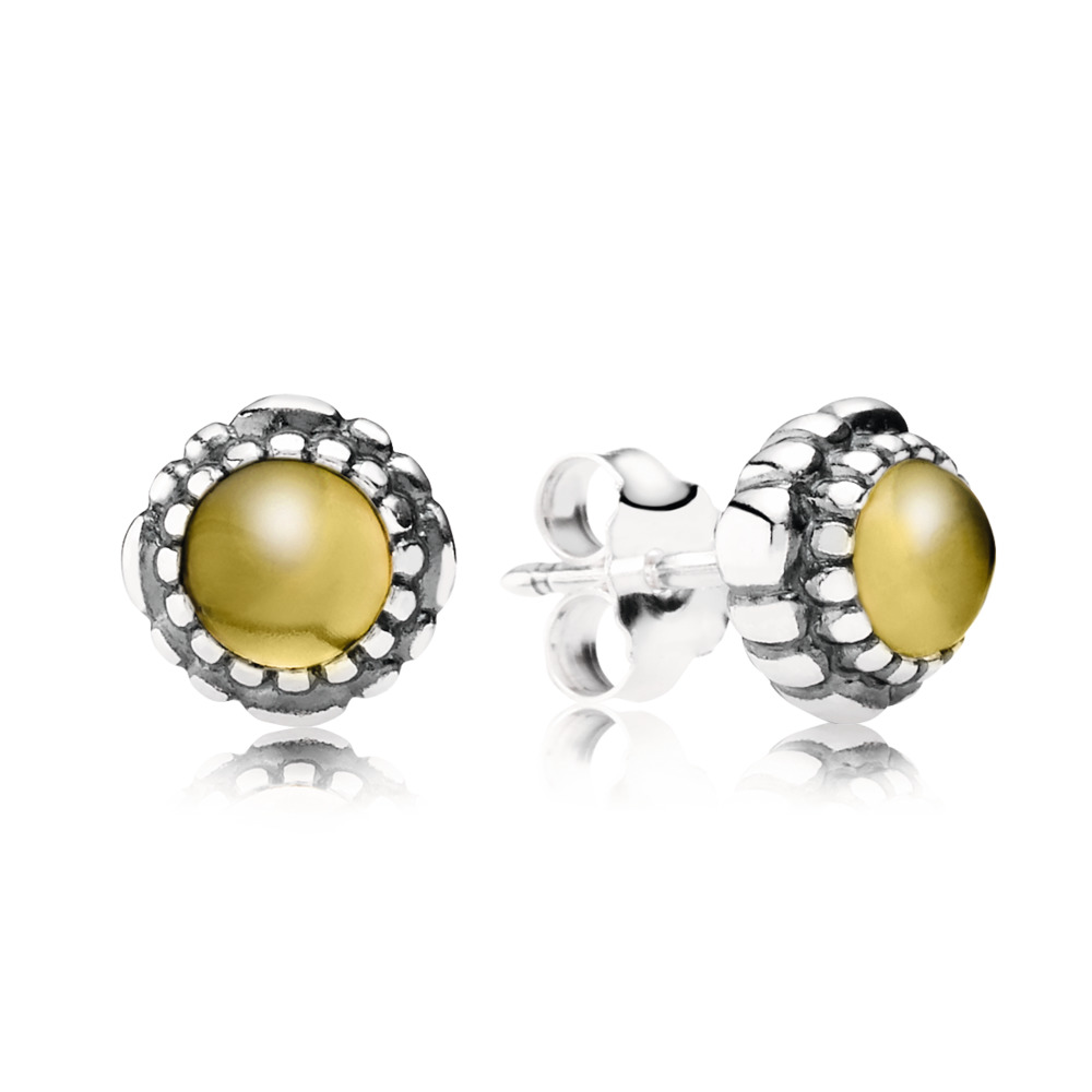 Birthday Blooms Stud Earrings, November, Citrine
