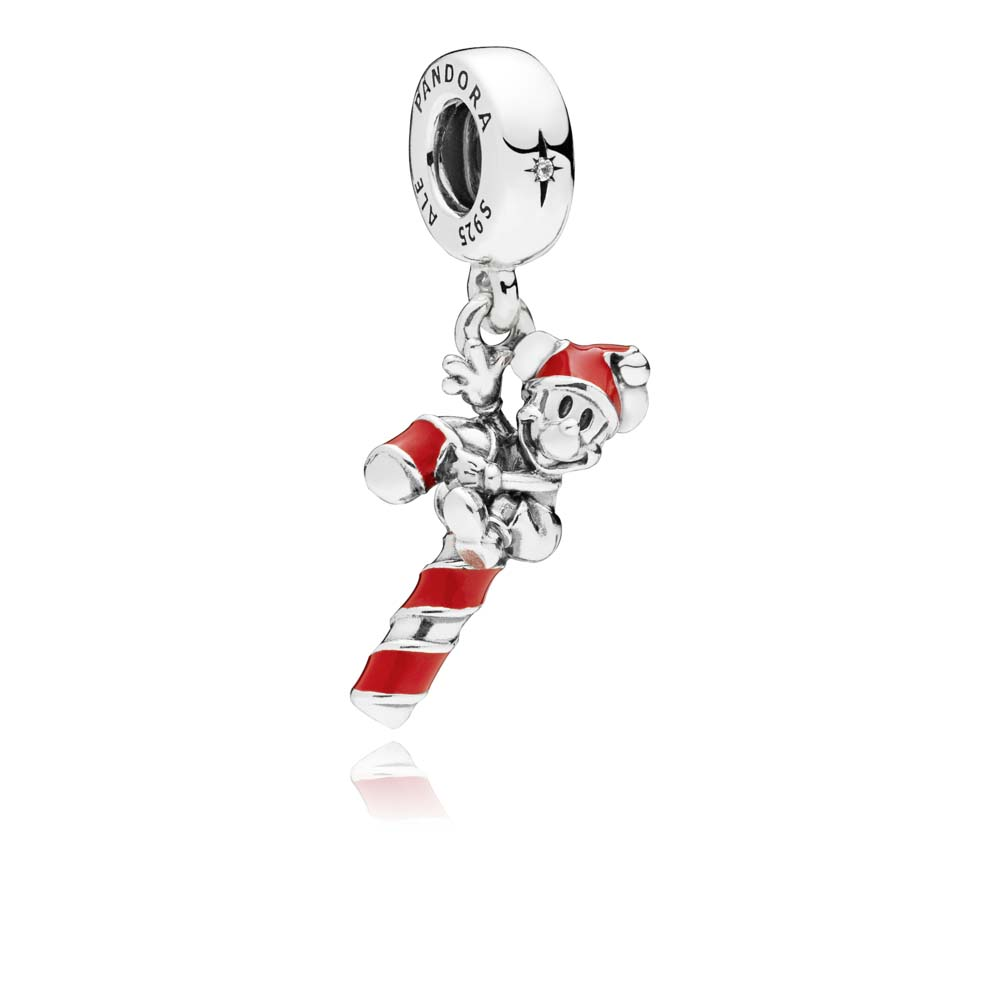 Disney, Santa Mickey's Candy Cane Dangle Charm