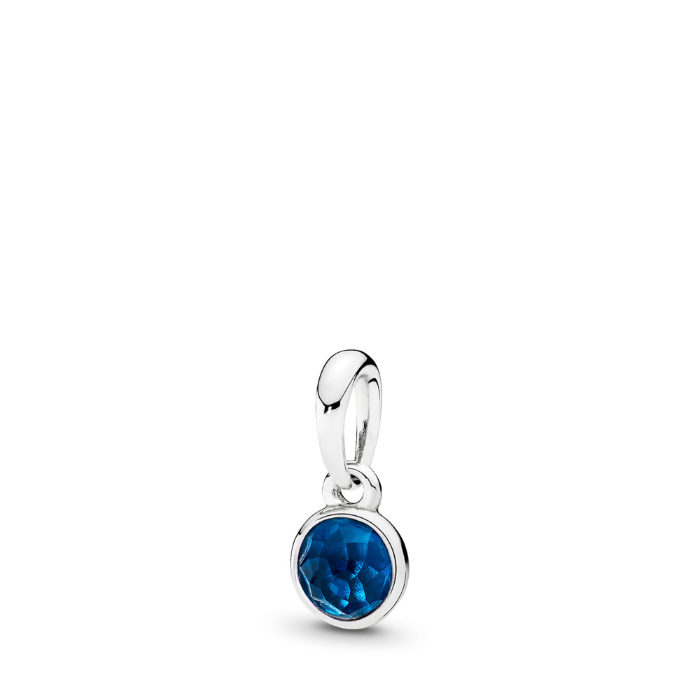 Gouttelette de décembre, cristal bleu de Londres, Argent sterling, Aucun autre matériel, Bleu, Cristal - PANDORA - #390396NLB