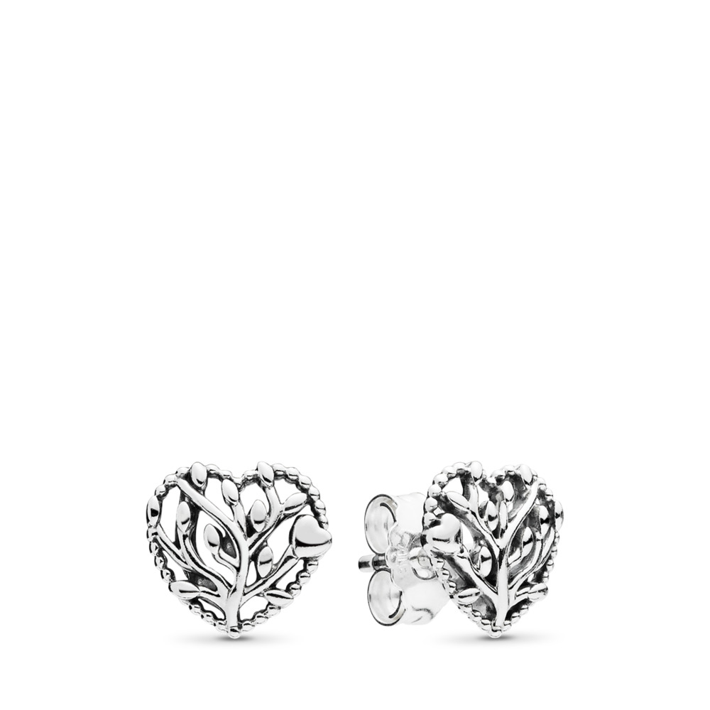 Flourishing Hearts Stud Earrings, Sterling silver - PANDORA - #297085