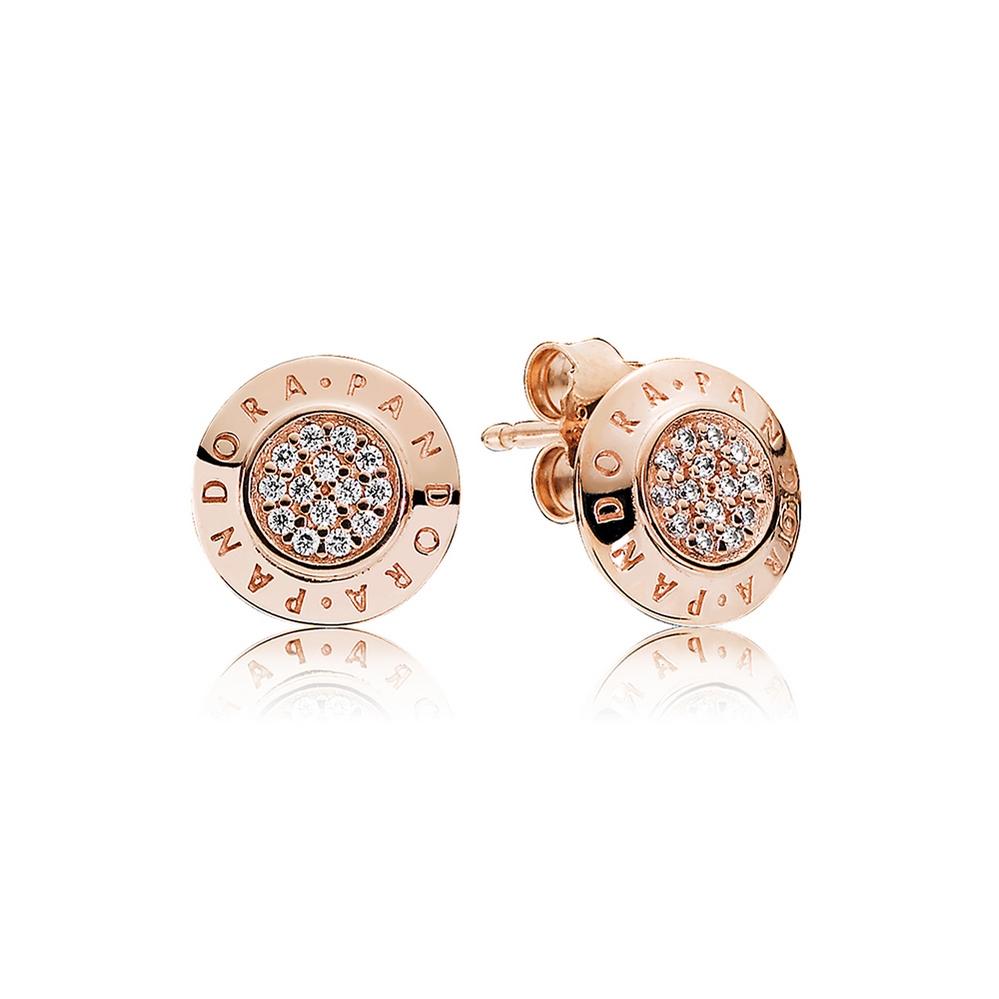 PANDORA Rose™ Signature Earrings, Clear CZ
