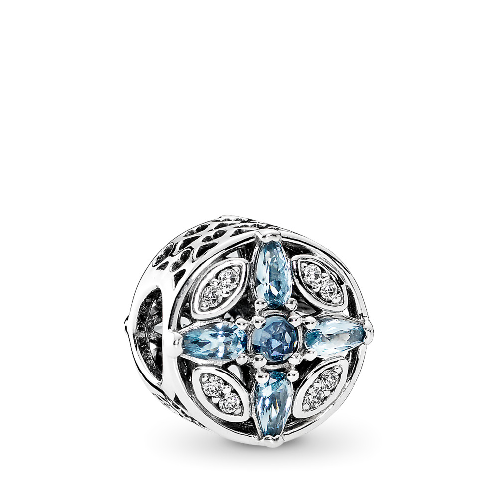 Patterns of Frost, Multi-Colored Crystal & Clear CZ, Sterling silver, Blue, Mixed stones - PANDORA - #791995NMBMX