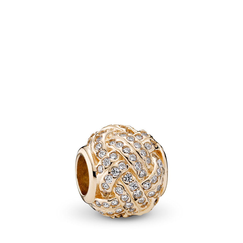 Sparkling Love Knot, 14K Gold & Clear CZ, Yellow Gold 14 k, Cubic Zirconia - PANDORA - #750991CZ