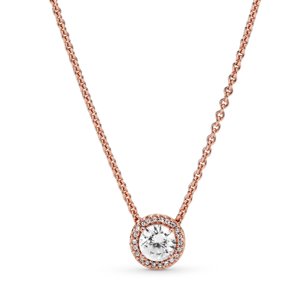 Classic Elegance Necklace, PANDORA Rose™ & Clear CZ, PANDORA Rose, Cubic Zirconia - PANDORA - #386240CZ