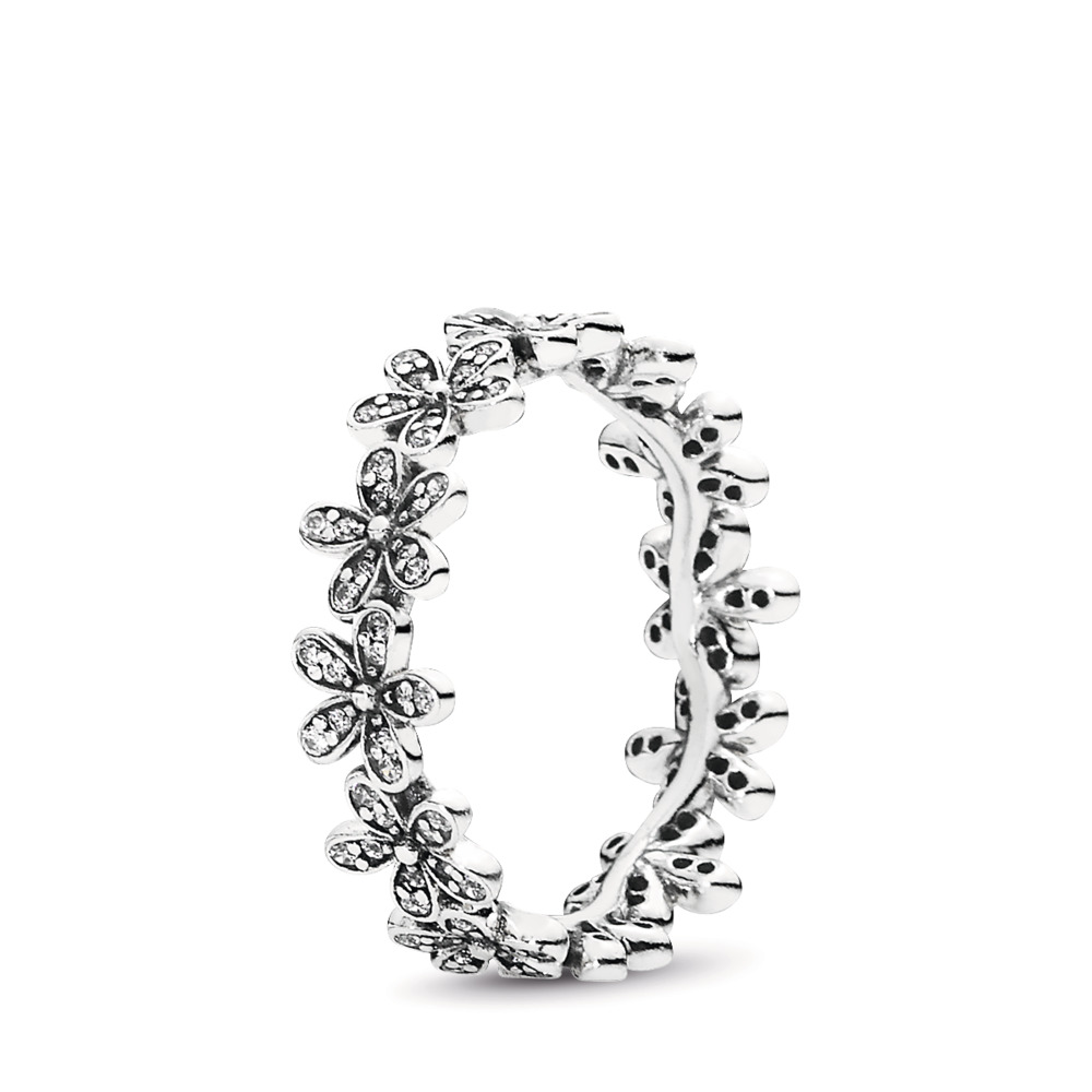 Dazzling Daisy Meadow Stackable Ring, Clear CZ, Sterling silver, Cubic Zirconia - PANDORA - #190934CZ