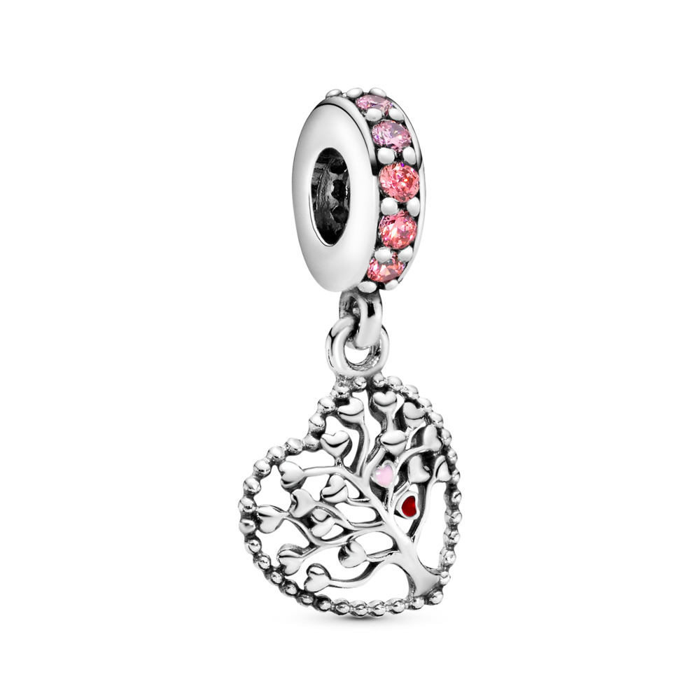 Tree of Love Dangle Charm, Mixed Enamel & Multi-Colored CZ, Sterling silver, Enamel, Pink, Cubic Zirconia - PANDORA - #796592CZSMX