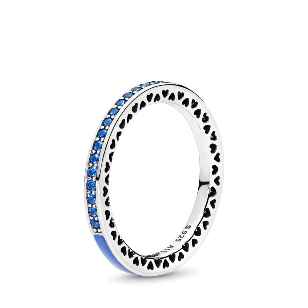 Radiant Hearts of PANDORA, Princess Blue Enamel & Royal Blue Crystals, Sterling silver, Enamel, Blue, Crystal - PANDORA - #191011NCB