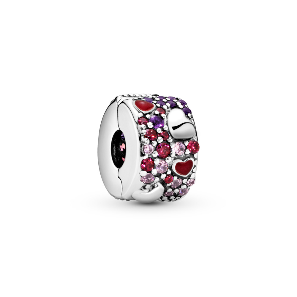 Asymmetric Hearts of Love Clip, Sterling silver, Enamel, Mixed stones - PANDORA - #797838CZRMX