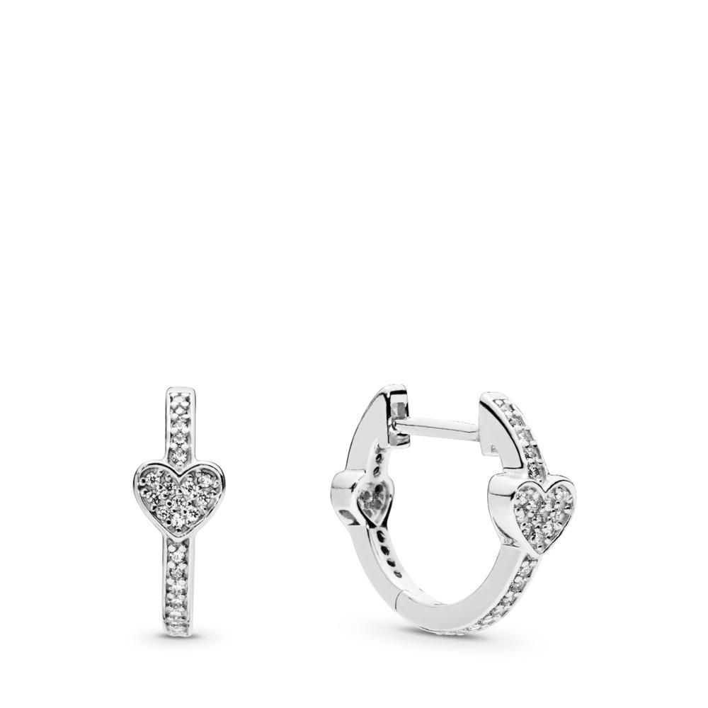 Alluring Hearts Hoop Earrings, Clear CZ, Sterling silver, Cubic Zirconia - PANDORA - #297290CZ