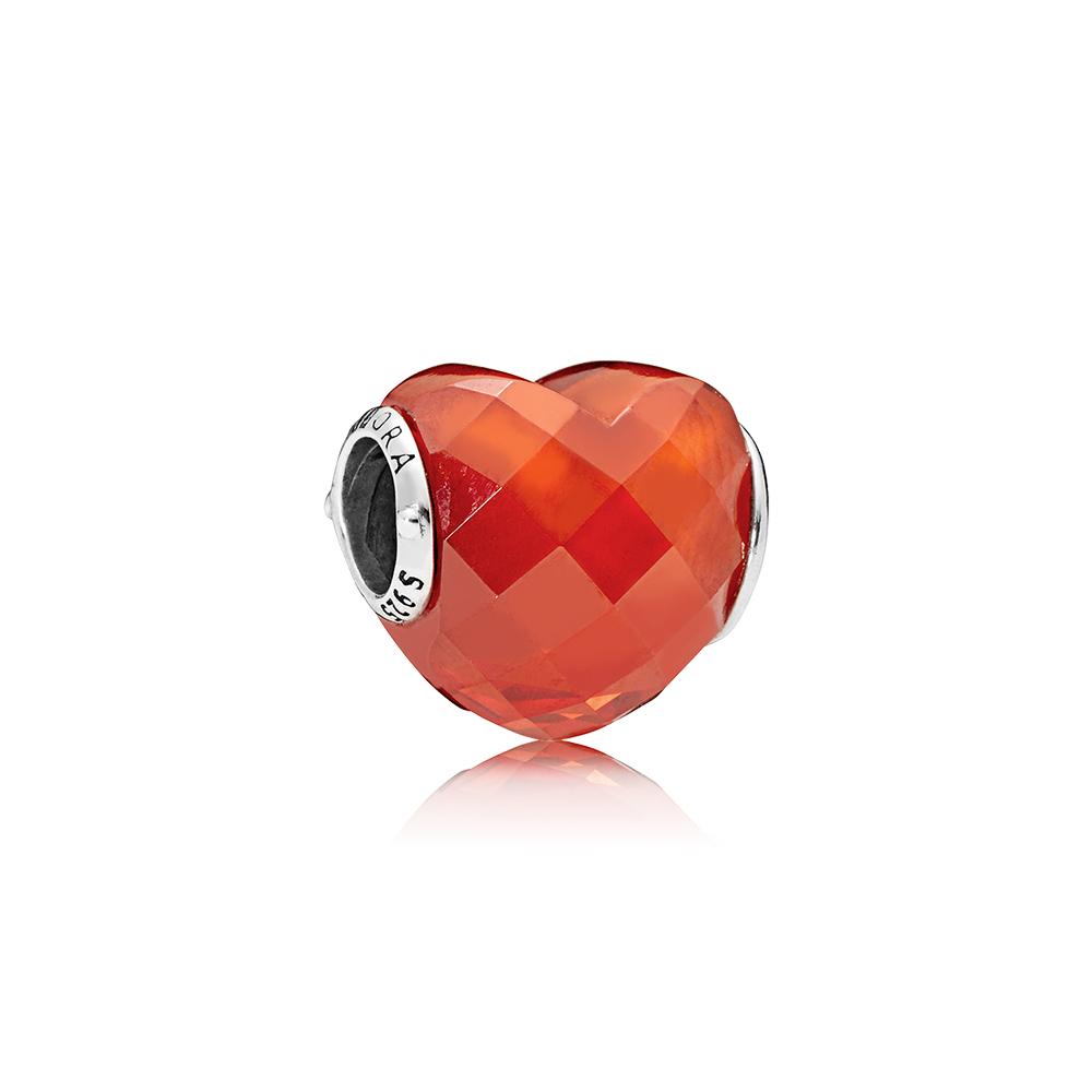 Charm En forme d'amour, zircone cubique orange