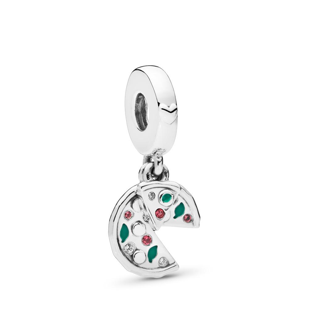 Charm pendentif Passionnée de pizza, émail vert, cristal rouge et cz incolore, Argent sterling, émail, Vert, Pierres mélangées - PANDORA - #797443CZ