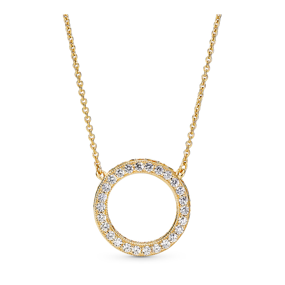 Hearts of PANDORA Necklace, PANDORA Shine™ & Clear CZ, 18ct gold-plated sterling silver, Cubic Zirconia - PANDORA - #367121CZ