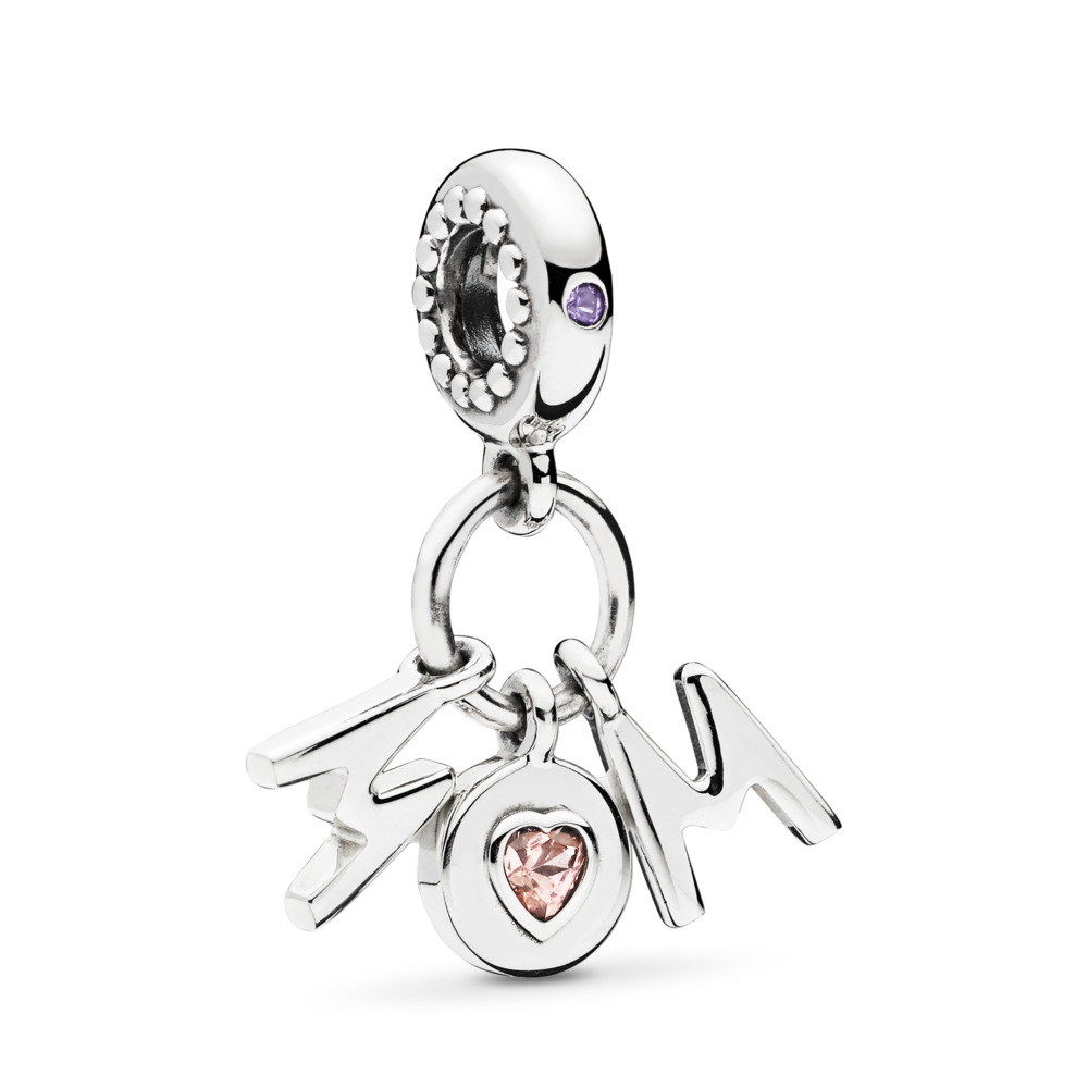 Charm pendentif Une maman parfaite, cristaux rose pâle et lilas., Argent sterling, Aucun autre matériel, Rose, Cristal - PANDORA - #797059NSP