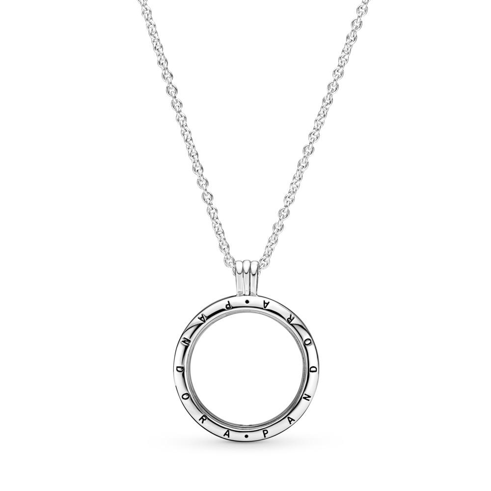 PANDORA Floating Locket, Large, Sapphire Crystal Glass, Sterling silver, Glass - PANDORA - #590530