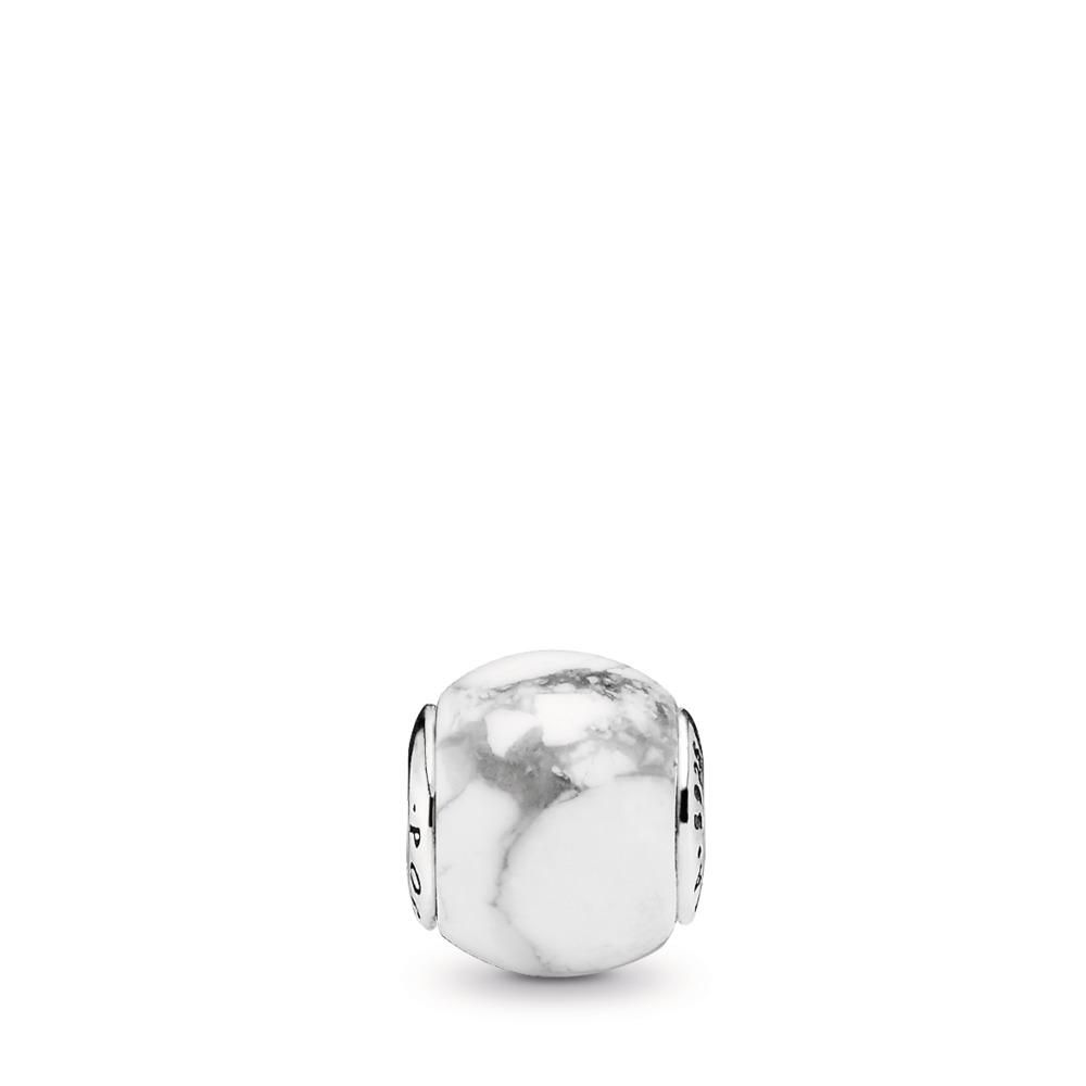 POSITIVITY, Magnesite, Sterling silver, Silicone, White, Magnesite - PANDORA - #796010MAG