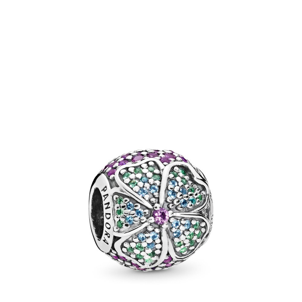 Glorious Bloom, Multi-coloured CZ, Sterling silver, Blue, Crystal - PANDORA - #797067NRPMX