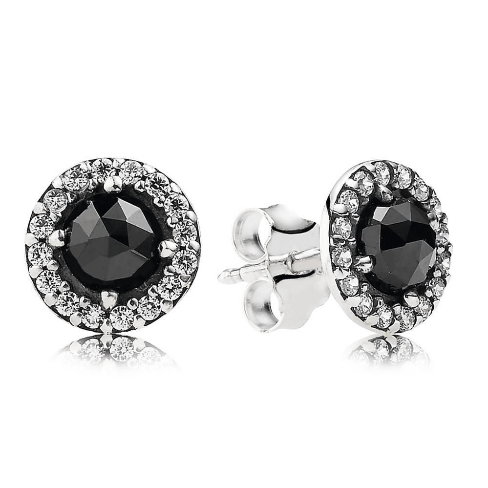 Glamorous Legacy Stud Earrings, Black Spinel & CZ